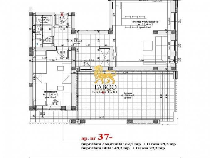vanzare Apartament Sibiu cu 2 camere, cu 1 grup sanitar, suprafata utila 48 mp. Pret: 39.900 euro.