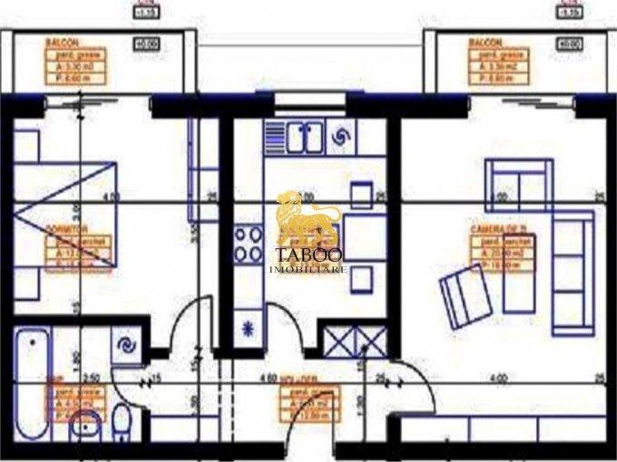 vanzare Apartament Sibiu cu 2 camere, cu 1 grup sanitar, suprafata utila 54 mp. Pret: 33.900 euro.