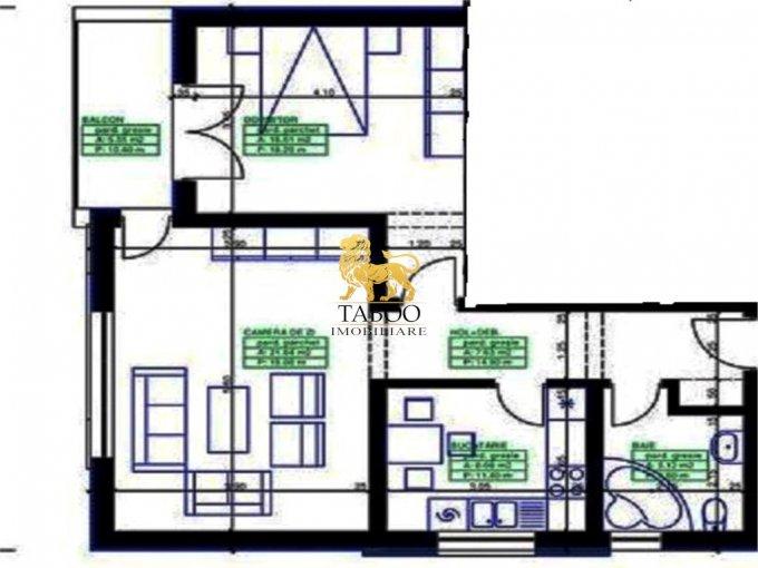 Apartament vanzare Calea Cisnadiei cu 2 camere, la Parter / 3, 1 grup sanitar, cu suprafata de 59 mp. Sibiu, zona Calea Cisnadiei.