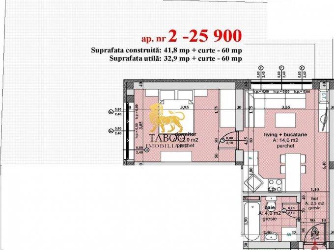 Apartament de vanzare in Sibiu cu 2 camere, cu 1 grup sanitar, suprafata utila 33 mp. Pret: 26.900 euro.