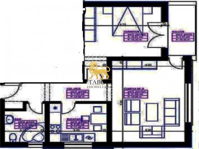 vanzare Apartament Sibiu cu 2 camere, cu 1 grup sanitar, suprafata utila 59 mp. Pret: 34.400 euro.