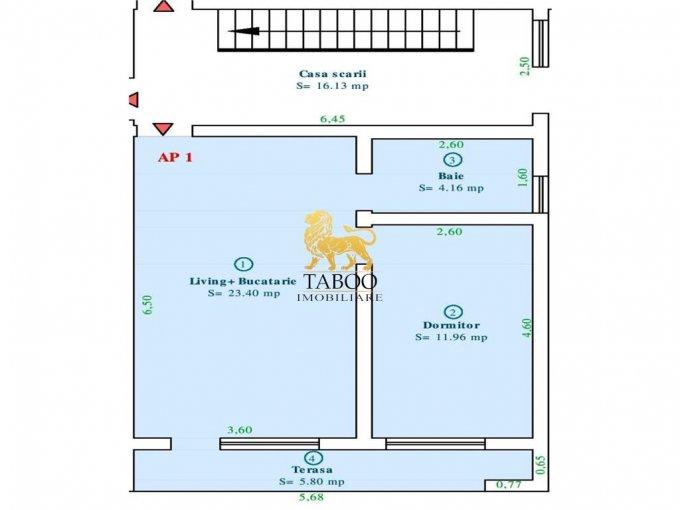 Apartament vanzare Calea Cisnadiei cu 2 camere, la Parter / 2, 1 grup sanitar, cu suprafata de 40 mp. Sibiu, zona Calea Cisnadiei.
