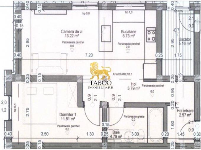 Apartament vanzare Sibiu 2 camere, suprafata utila 47 mp, 1 grup sanitar. 29.000 euro. La Parter / 3. Apartament Selimbar Sibiu