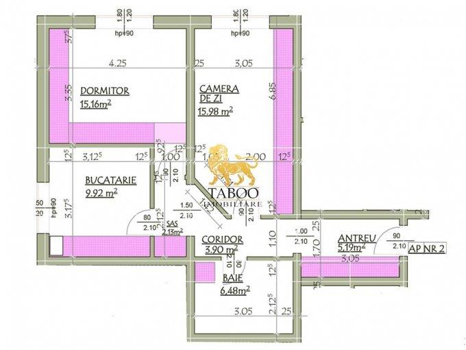 Apartament de vanzare in Sibiu cu 2 camere, cu 1 grup sanitar, suprafata utila 58 mp. Pret: 36.500 euro.