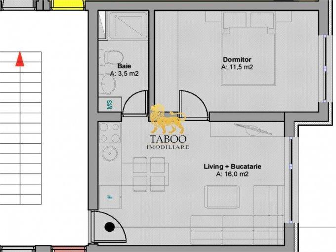 Apartament vanzare Sibiu 2 camere, suprafata utila 32 mp, 1 grup sanitar. 20.990 euro. Etajul 1 / 3. Apartament Calea Cisnadiei Sibiu