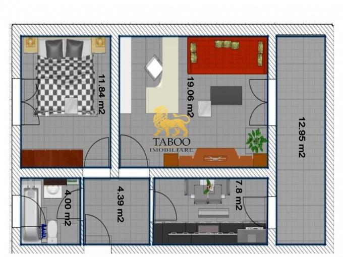 Apartament vanzare Calea Cisnadiei cu 2 camere, etajul 1 / 3, 1 grup sanitar, cu suprafata de 47 mp. Sibiu, zona Calea Cisnadiei.