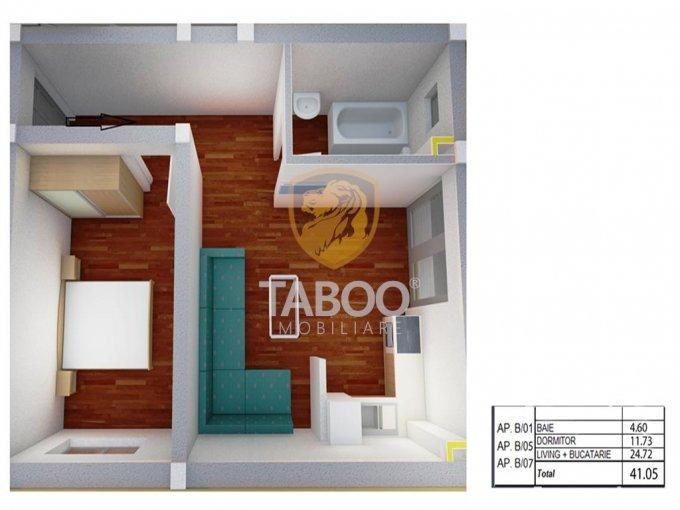 Apartament vanzare Sibiu 2 camere, suprafata utila 41 mp, 1 grup sanitar. 31.600 euro. Etajul 1 / 2. Apartament Calea Cisnadiei Sibiu