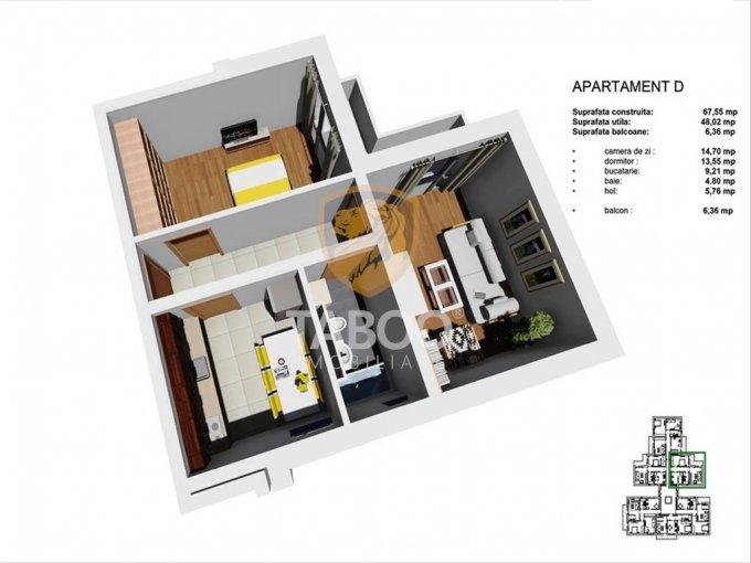 Apartament de vanzare direct de la agentie imobiliara, in Sibiu, in zona Tineretului, cu 38.500 euro. 1 grup sanitar, suprafata utila 48 mp.