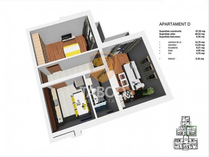 Apartament vanzare Sibiu 2 camere, suprafata utila 48 mp, 1 grup sanitar. 38.500 euro. Etajul 1 / 4. Apartament Tineretului Sibiu