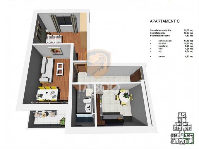 Apartament vanzare Sibiu 2 camere, suprafata utila 51 mp, 1 grup sanitar. 40.500 euro. Etajul 1 / 4. Apartament Tineretului Sibiu