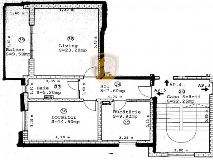 vanzare Apartament Sibiu cu 2 camere, cu 1 grup sanitar, suprafata utila 61 mp. Pret: 47.900 euro.