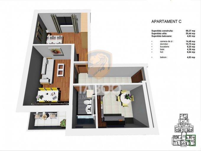 Apartament de vanzare direct de la agentie imobiliara, in Sibiu, in zona Tineretului, cu 40.500 euro. 1 grup sanitar, suprafata utila 52 mp.