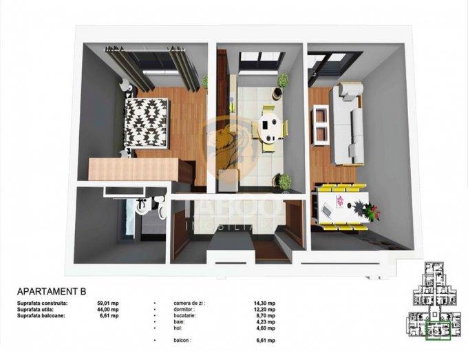 vanzare Apartament Sibiu cu 2 camere, cu 1 grup sanitar, suprafata utila 44 mp. Pret: 35.500 euro.