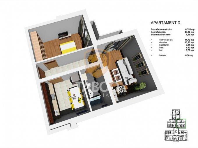 vanzare Apartament Sibiu cu 2 camere, cu 1 grup sanitar, suprafata utila 48 mp. Pret: 38.500 euro.