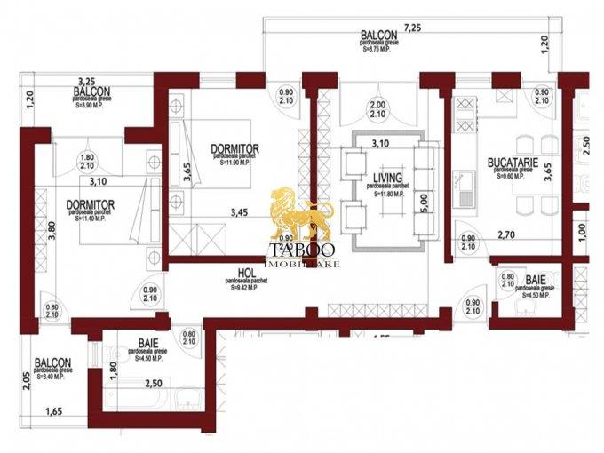vanzare Apartament Sibiu cu 3 camere, cu 2 grupuri sanitare, suprafata utila 61 mp. Pret: 41.000 euro.