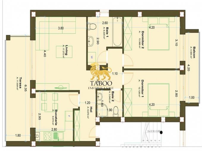 vanzare Apartament Sibiu cu 3 camere, cu 2 grupuri sanitare, suprafata utila 70 mp. Pret: 45.900 euro.