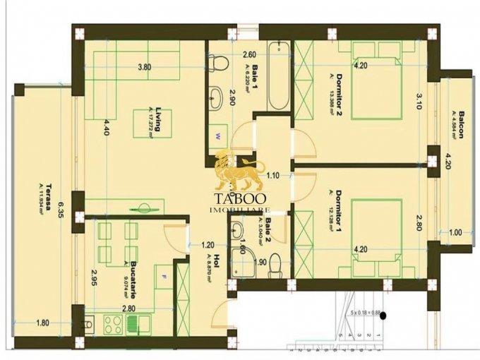 Apartament de vanzare direct de la agentie imobiliara, in Sibiu, in zona Calea Cisnadiei, cu 45.900 euro. 2 grupuri sanitare, suprafata utila 70 mp.