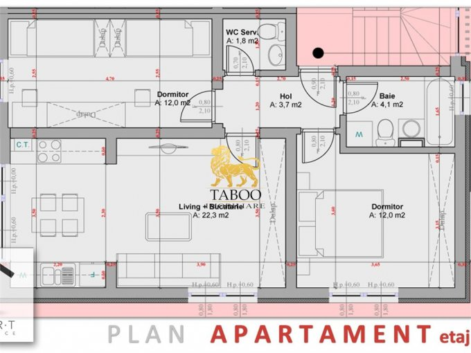 Apartament vanzare Sibiu 3 camere, suprafata utila 56 mp, 2 grupuri sanitare. 39.000 euro. La Parter / 3. Apartament Calea Cisnadiei Sibiu