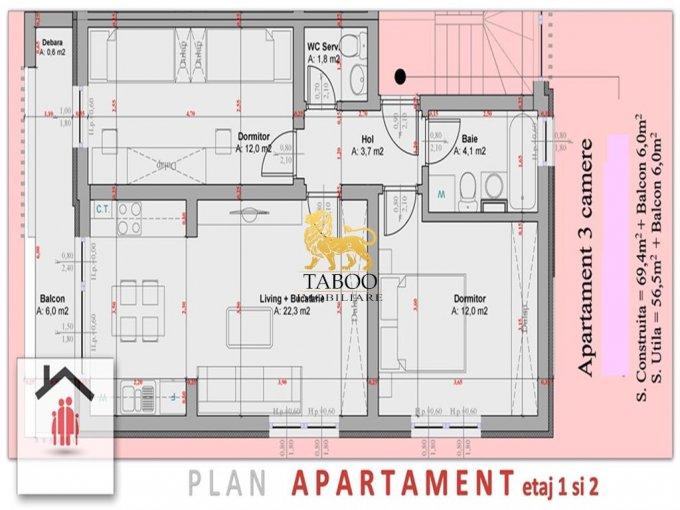 Apartament de vanzare in Sibiu cu 3 camere, cu 2 grupuri sanitare, suprafata utila 57 mp. Pret: 40.000 euro.
