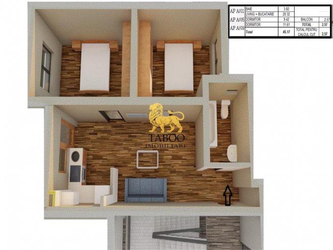 Apartament de vanzare direct de la agentie imobiliara, in Sibiu, in zona Calea Cisnadiei, cu 34.850 euro. 1 grup sanitar, suprafata utila 45 mp.