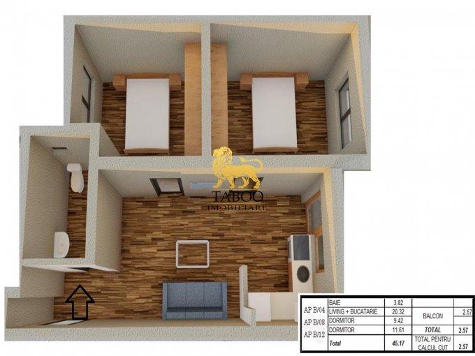 Apartament vanzare Sibiu 3 camere, suprafata utila 45 mp, 1 grup sanitar. 38.450 euro. Etajul 2 / 2. Apartament Calea Cisnadiei Sibiu
