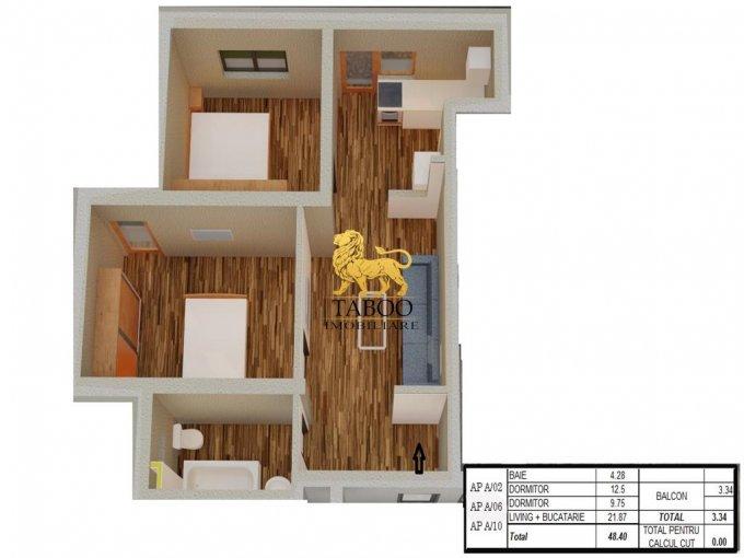 Apartament de vanzare in Sibiu cu 3 camere, cu 1 grup sanitar, suprafata utila 49 mp. Pret: 37.300 euro.