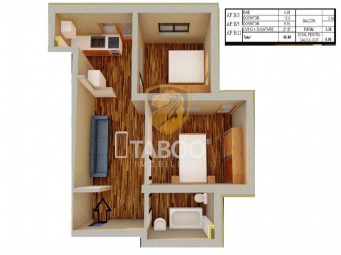 Apartament de vanzare direct de la agentie imobiliara, in Sibiu, in zona Calea Cisnadiei, cu 37.300 euro. 1 grup sanitar, suprafata utila 49 mp.