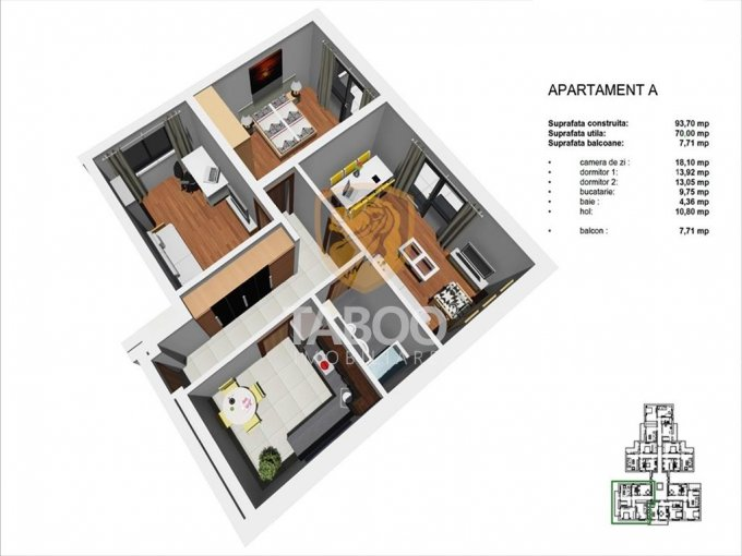 Apartament de vanzare direct de la agentie imobiliara, in Sibiu, in zona Tineretului, cu 55.000 euro. 1 grup sanitar, suprafata utila 70 mp.