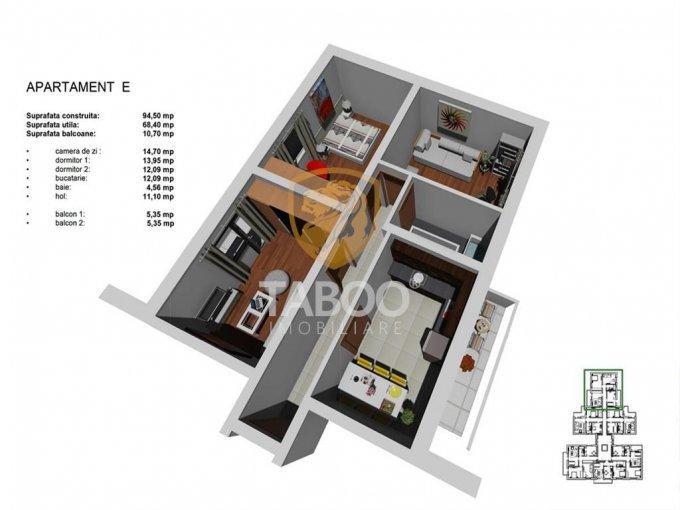 vanzare Apartament Sibiu cu 3 camere, cu 1 grup sanitar, suprafata utila 68 mp. Pret: 53.500 euro.