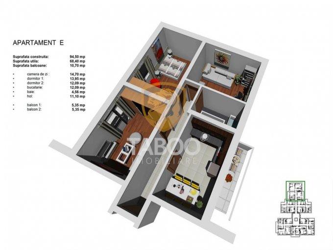 Apartament de vanzare in Sibiu cu 3 camere, cu 1 grup sanitar, suprafata utila 68 mp. Pret: 53.500 euro.