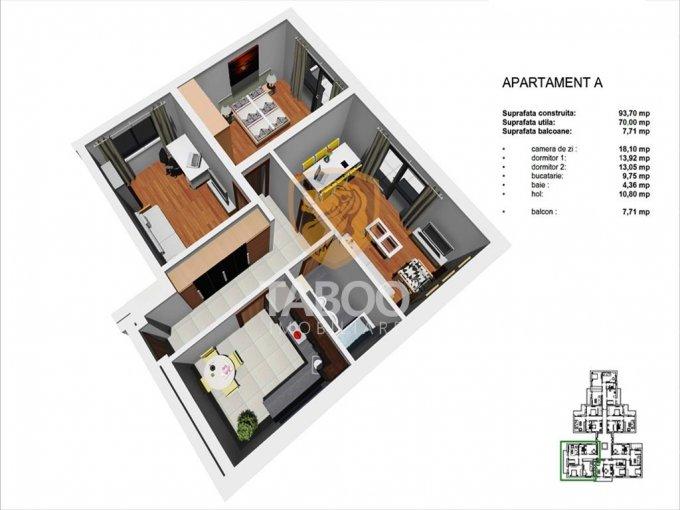 Apartament vanzare Tineretului cu 3 camere, etajul 1 / 4, 1 grup sanitar, cu suprafata de 70 mp. Sibiu, zona Tineretului.