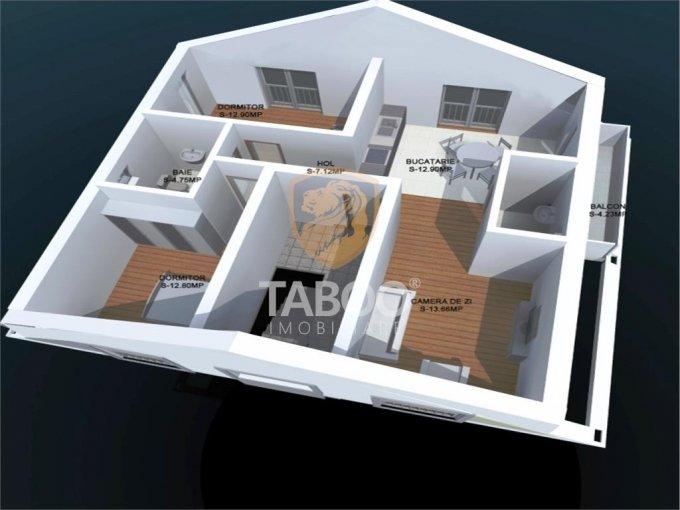 Apartament de vanzare direct de la agentie imobiliara, in Sibiu, in zona Calea Cisnadiei, cu 51.500 euro. 2 grupuri sanitare, suprafata utila 67 mp.