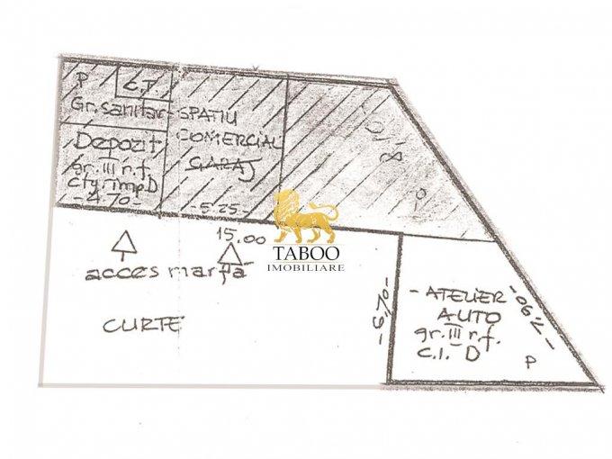 Terezian  Sibiu Spatiu industrial de inchiriat cu 4 incaperi, cu 1 grup sanitar, suprafata 100 mp. Pret: 300 euro.