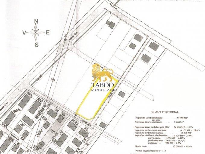 Teren intravilan de vanzare in Sibiu, zona Tiglari. Suprafata terenului 3450 metri patrati, deschidere 96 metri. Pret: 345.000 euro.