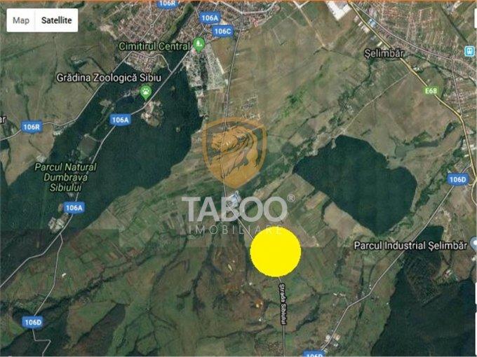 Teren intravilan de vanzare direct de la agentie imobiliara, in Sibiu, zona Calea Cisnadiei, cu 90.000 euro. Suprafata de teren 6000 metri patrati cu deschidere de 2072 metri.