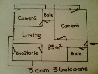 Apartament cu 3 camere de vanzare, confort 1, zona Centrul Bancar,  Timisoara Timis