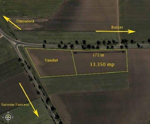 Teren agricol extravilan de vanzare in Sacosu Turcesc. Suprafata terenului 13350 metri patrati, deschidere 172 metri. Pret: 200.250 euro.